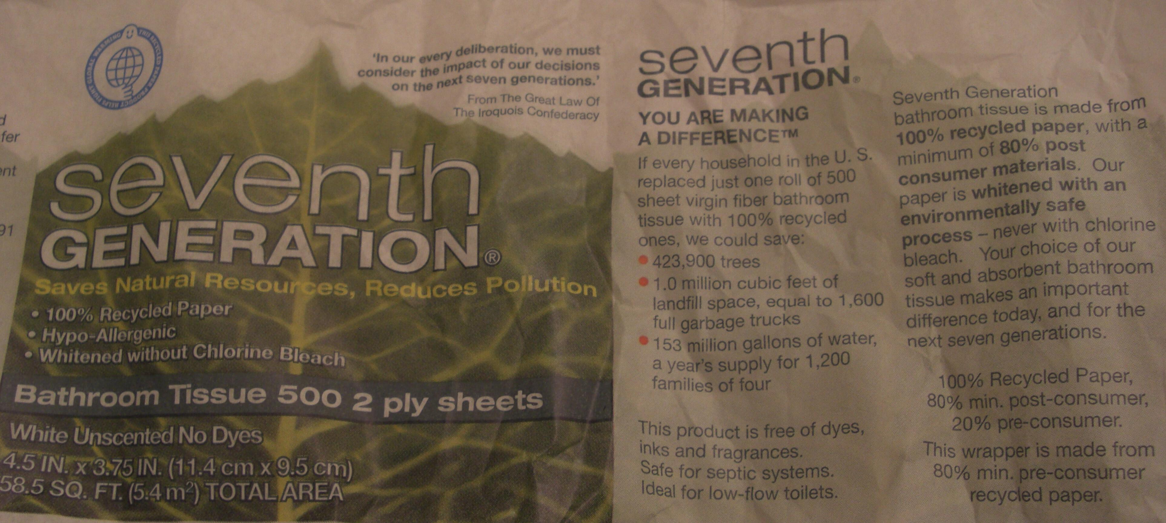 Seventh Generation bathroom tissue made from recycled paper