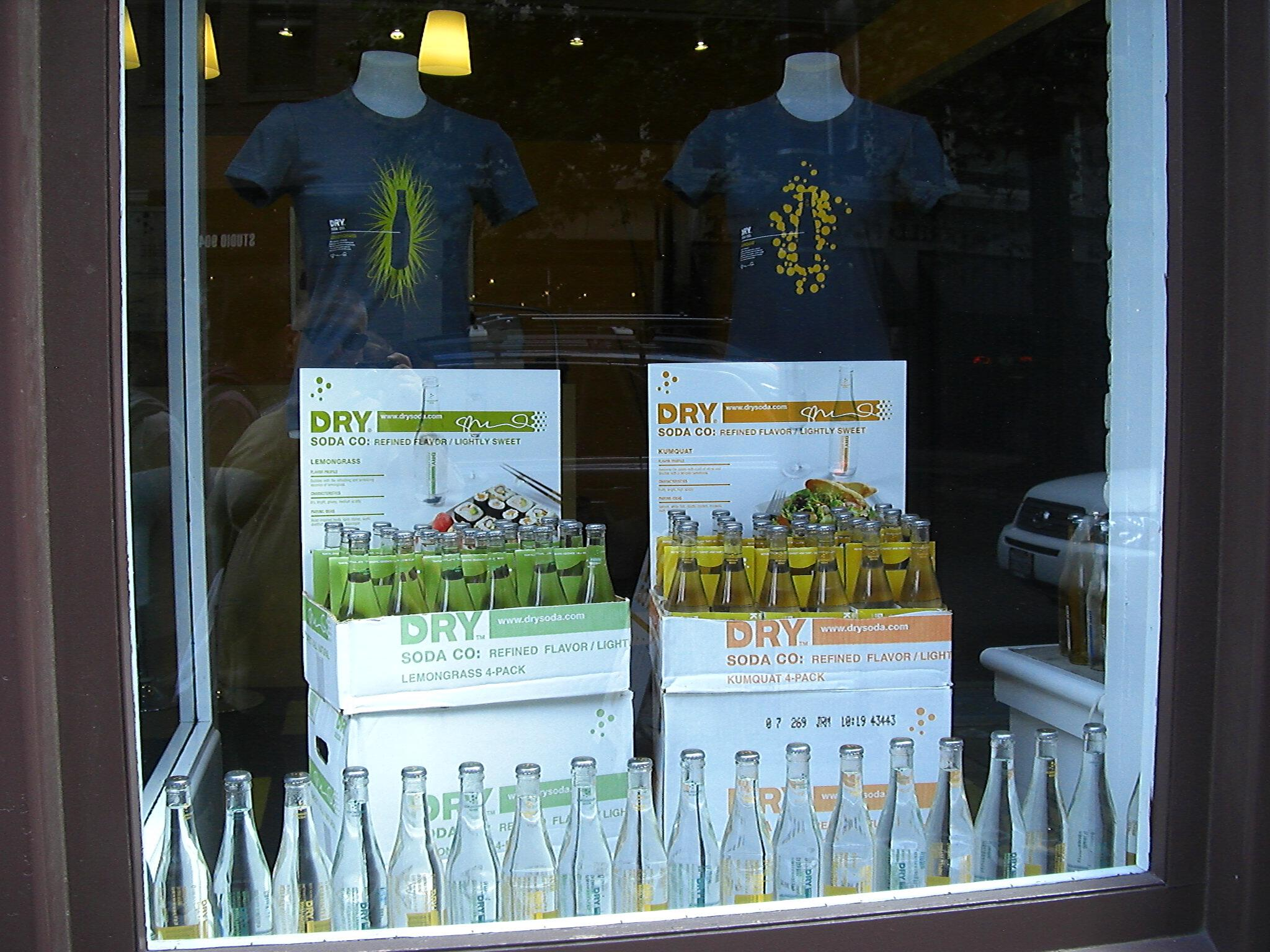 DRY Soda right front window display