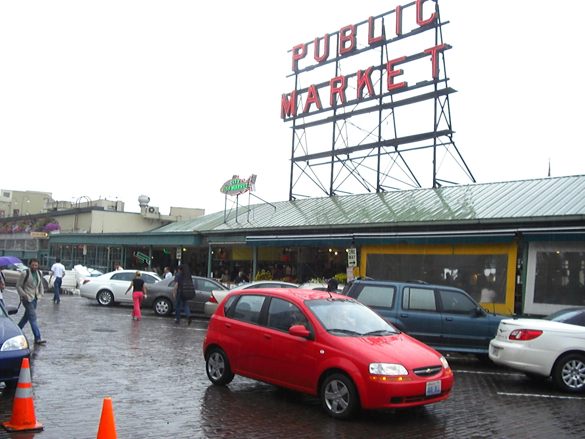 Red Chevy Aveo Pike Place Public Market Seattle