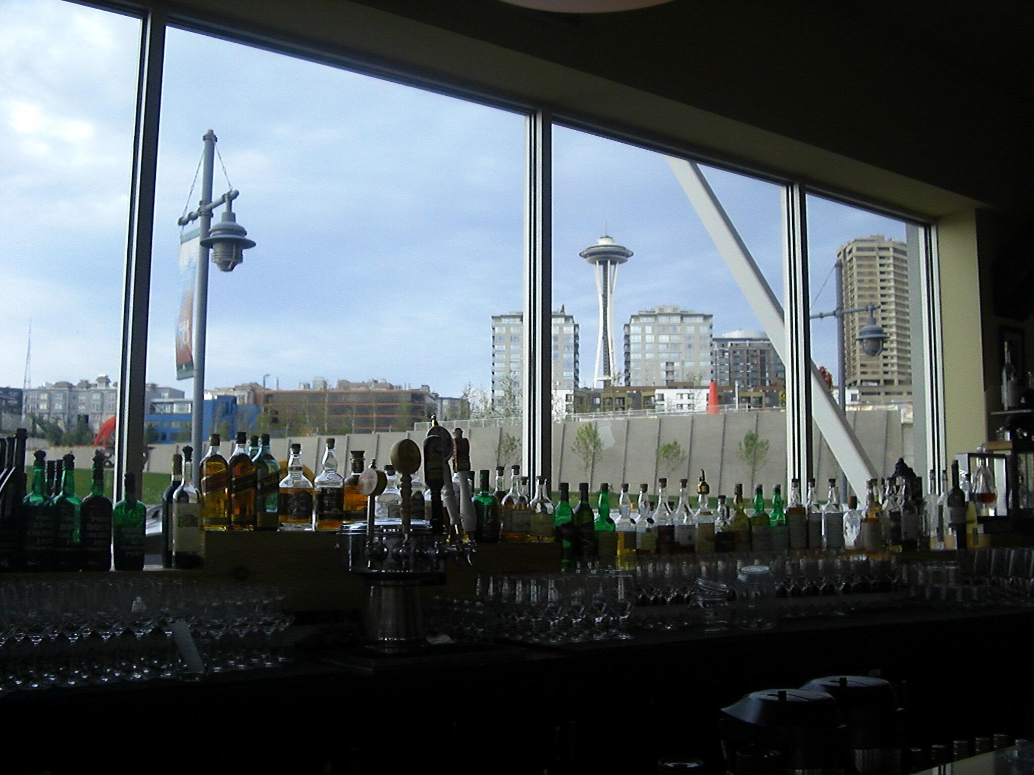 Seattle Space Needle viewed from WaterFront Seafood Grill bar