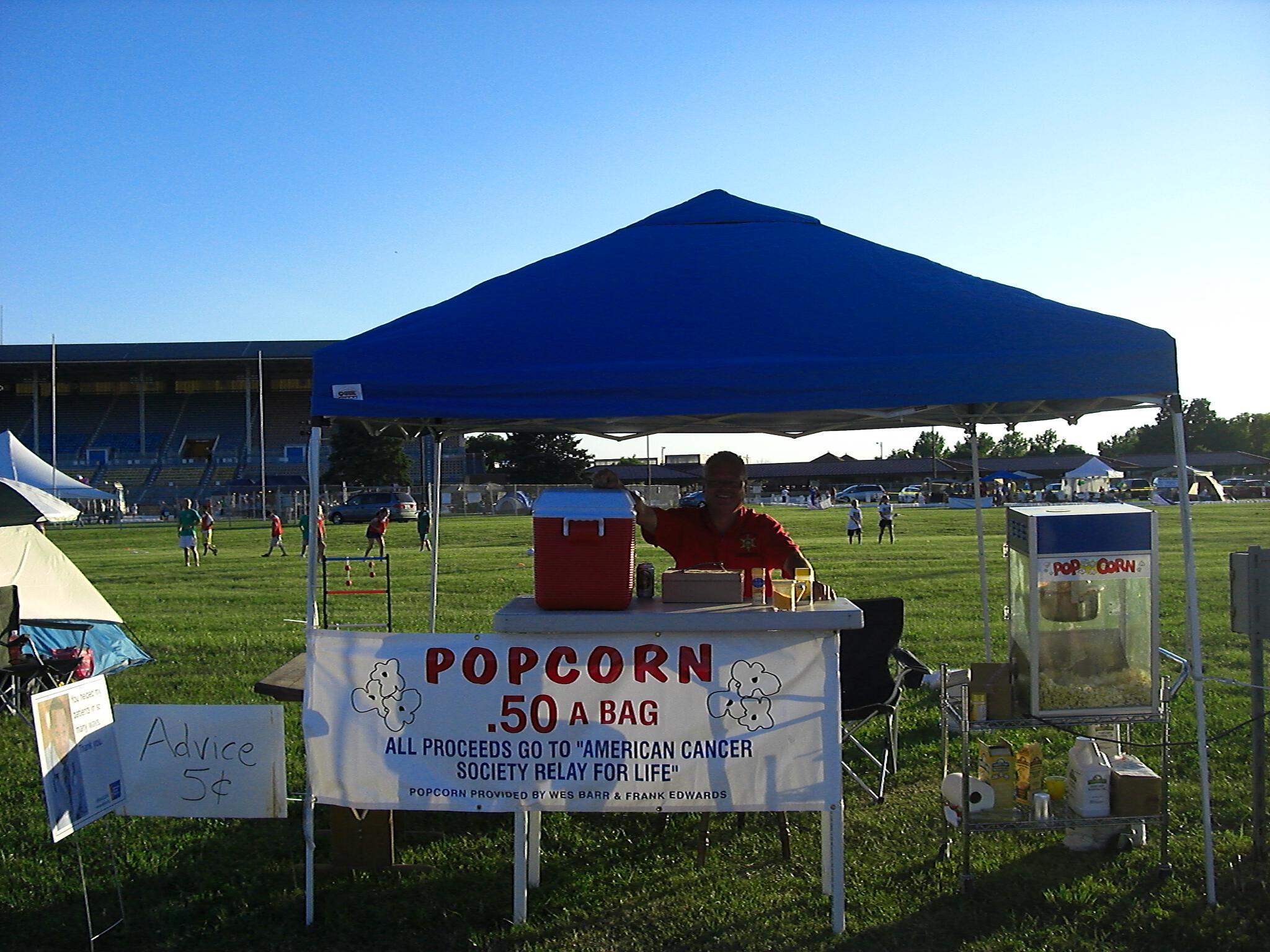 Wes Barr popcorn stand Relay For Life 2008