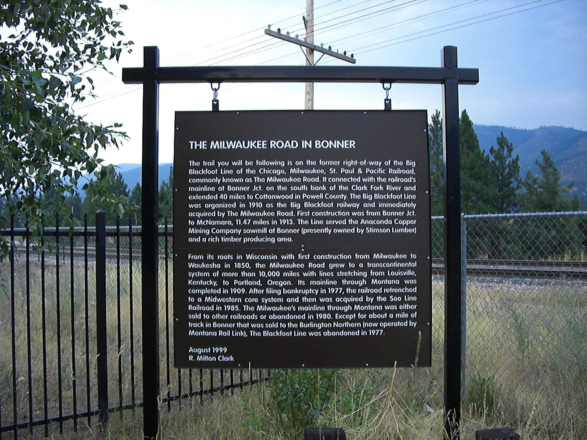 History of The Milwaukee Road trail in Bonner Montana