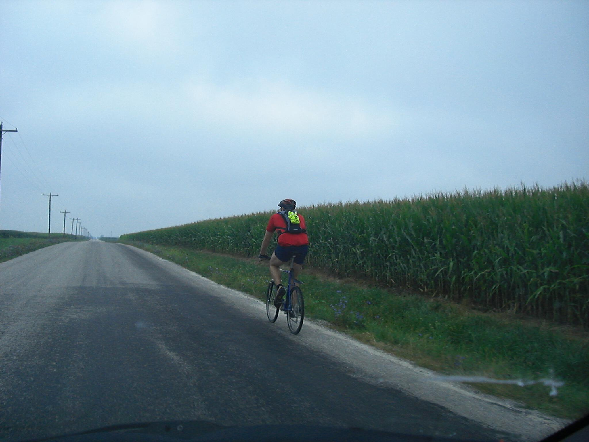 Bike rider in the middle of Illinois