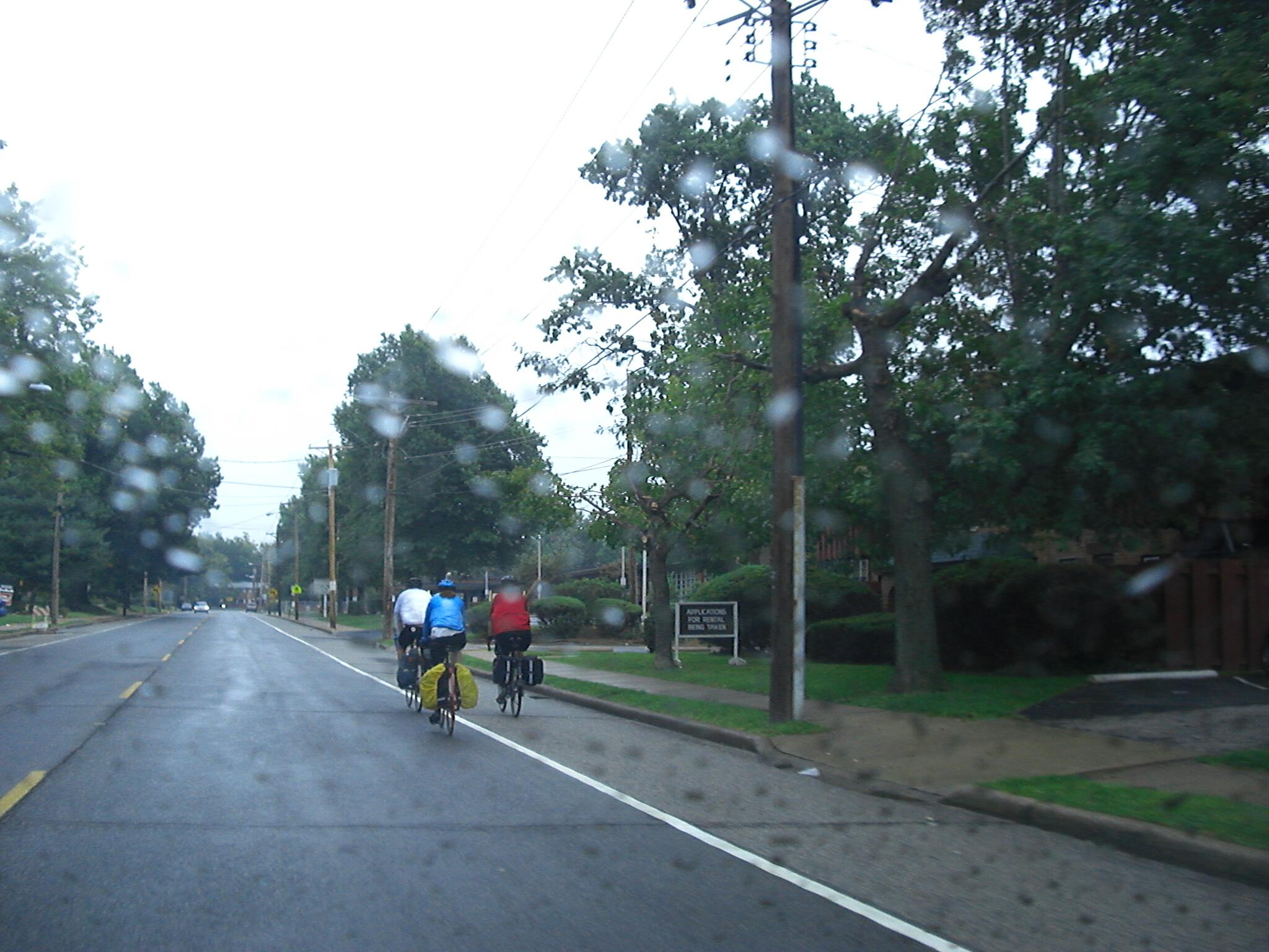 Bicyclist riding in the rain Alton IL