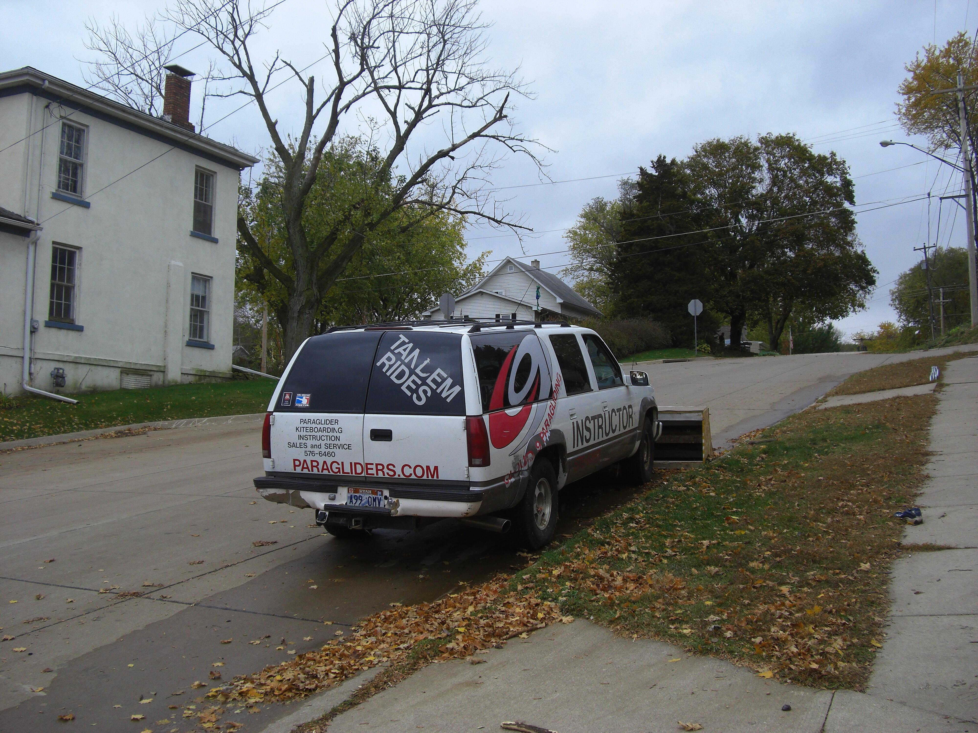 Cloud 9 paragliding instructor truck parked in LeClaire Iowa