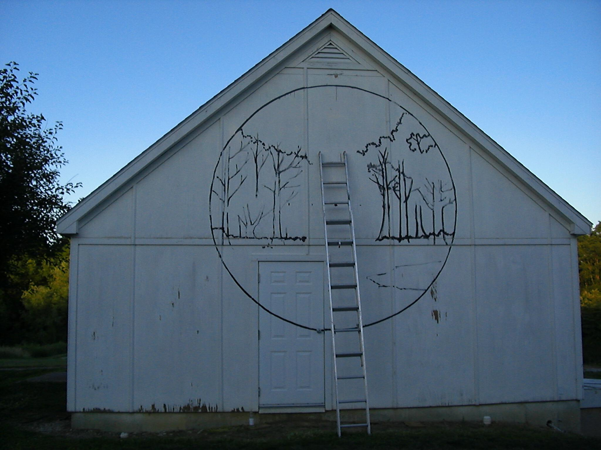 The beginning of a mural at Lincoln Memorial Gardens Prairie Center
