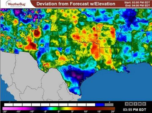 NOWCAST Deviation from Forecast with Elevation